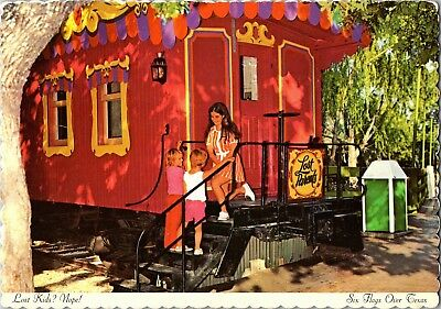 Six Flags Over Texas, Lost Parents Caboose Lost Kids Postcard M19