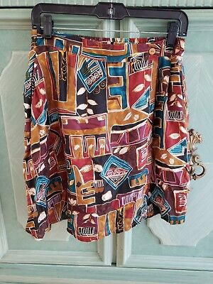 Cute 90s Vintage Tribal Patterned Skort Sz M