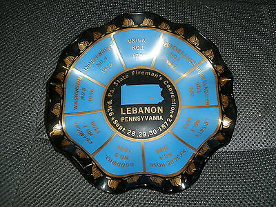 Vintage Misspelled Lebanon Pa Fireman Convention Sept 1972 Ashtray/plate