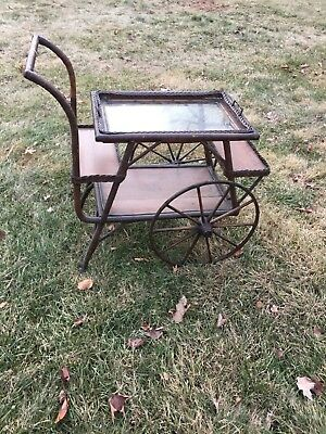 Antique Brown Wicker Tea Cart with removable serving tray-Beautiful Treasure
