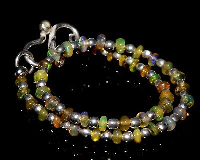"O-1333 Ethiopian Fire Opal Gemstone Rondelle Plain Bead 11Ct 2-3mm 7"" Bracelet $"