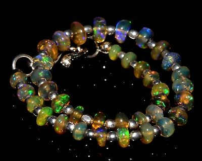 "O-1336 Ethiopian Fire Opal Gemstone Rondelle Plain Bead 15Ct 3-5mm 7"" Bracelet $"