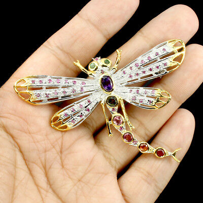 Gorgeous Ruby Emerald Amethyst Tourmaline 925 Sterling Silver Dragonfly Brooch