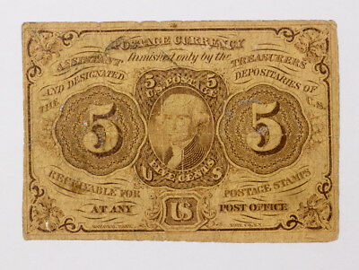 1862 US Postage Currency Note 5 Cent Fractional First Issue Thomas Jefferson