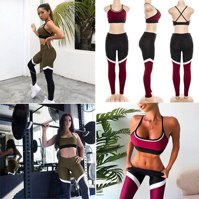 2Pcs Women's Sport Gym Yoga Vest Bra Sports Legging Pants Ladies Outfit Wear Set