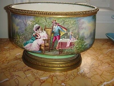 Large Antique Sevres Style French Porcelain Gilt Bronze  Mounted Jardiniere HP
