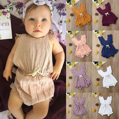 Infant Baby Girls Bodysuit Ruffle Romper Jumpsuit Outfits Summer Sunsuit Clothes