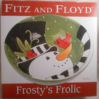 Fitz & Floyd Frosty's Frolic Serving Bowl NEW in Box Christmas Snowman Party and