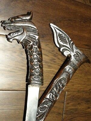 Sumatra dagger KERIS signed DRAGON short sword KRIS carved sheath MALAY JAVANESE