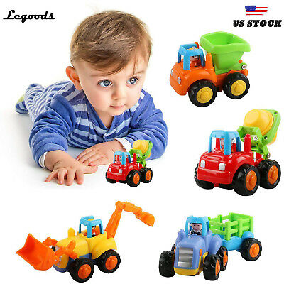 Set of 4 Push and Go Toy Friction Powered Car Tractor Dozer Truck Holiday Gift