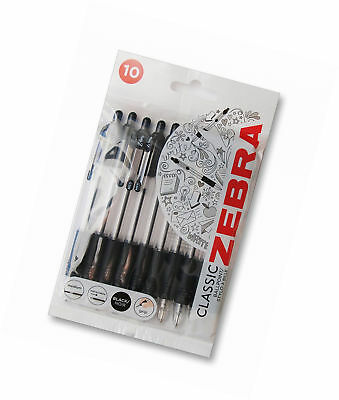 Zebra Z-Grip Retractable Ballpoint Pens Pack of 10 ~ Fast & Free Delivery