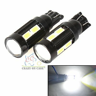 2x 5630 10 SMD T10 168 194 W5W White LED Light Turn Tail Backup Door Bulb Bright