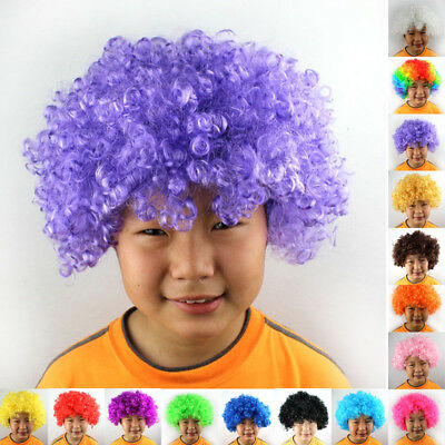 Hair Women Fancy # Curly Kids Party Wig Disco Costume Adult Afro Child Clown