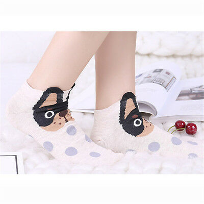 Women Cartoon Puppy Printed Animal Casual Cotton Socks Cute Low Cut Ankle Socks