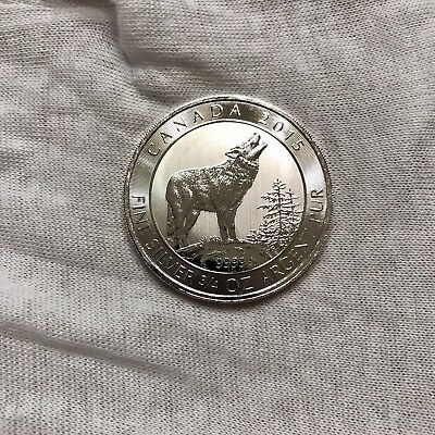 2015 Canada Grey Wolf 3/4 Oz Pure Silver Coin .9999 In Capsule Free Shipping