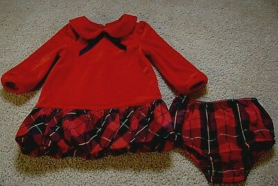 Ralph Lauren Baby Girls 9 Months Red Velour Holiday Plaid Bubble Dress w  Bloomer 8fc546c0499e