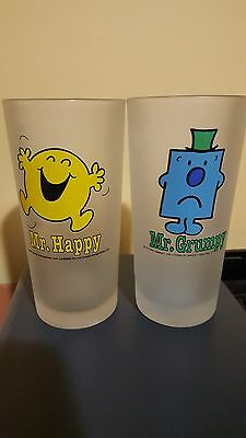 Mr Happy & Mr Grumpy frosted glasses