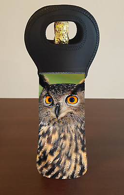 Owl Personalised Wine Bottle Cooler Carry Bag