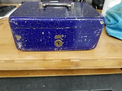 Heavy Antique Blue Crackle Paint Steel Strong Box / Lock Box Cash Tray with Key