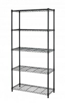 "5-Shelf Steel Wire Tier Layer Shelving 72""x36""x14"" Storage Rack 75 - Black -NEW"