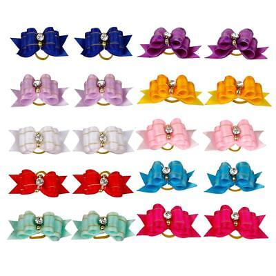 10Pcs Mixed Small Dog Hair Bows With Rhinestone Pet Puppy Cat Topknot Grooming