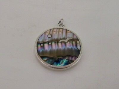 Vintage Taxco Mexico  Sterling Silver Abalone  Pendant