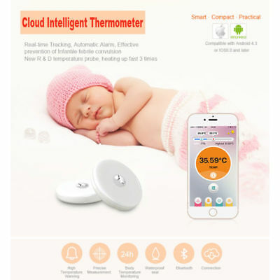 Bluetooth IP67 Smart Baby Thermometer Monitor Intelligent Safe Temperature Kid -