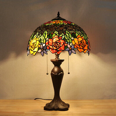 Vintage Tiffany Stained Glass Table Lamp Flower Study Bedroom Night Light Gifts