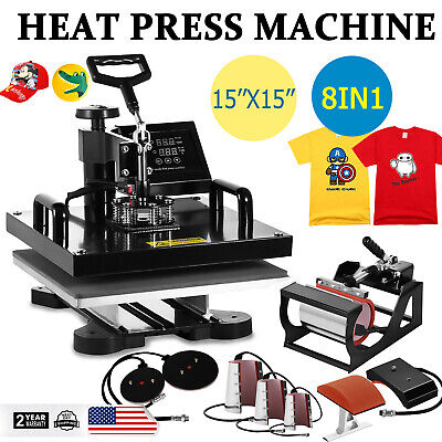 "8 in 1 Combo T-Shirt Heat Press Machine Digital Transfer Sublimation 15""x15"""