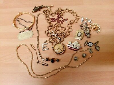 Job Lot Antique Vintage Jewellery For Spare / Repair 18 Ct Gold Plate E Pendant
