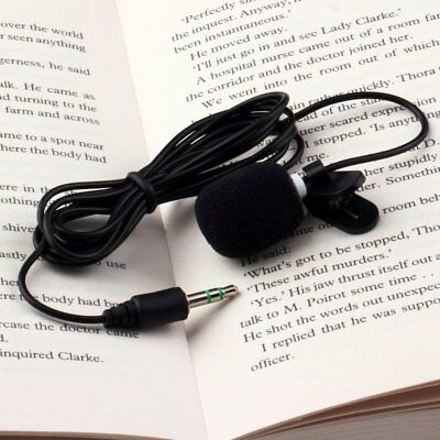 Black 3.5mm Jack Clip-on Lapel Mini Lavalier Microphone Mic For Mobile Phone New