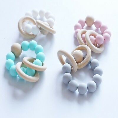 Baby Teether Rings Bead Beech Wood Teething Bracelet Infant Silicone Chew Toys