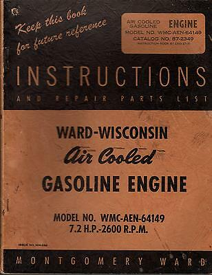 Ward-Wisconsin Air Cooled Gas Engines Wmc-Aen-64149 Operators Parts Manual (414)