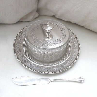 Antique Silver Plate Butter Dish Chased Decoration Glass Bowl And Butter Knife