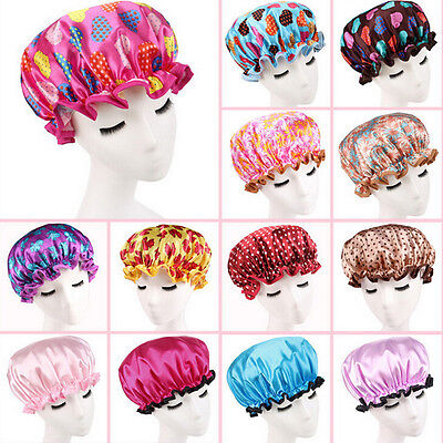 Women Shower Cap Colorful Bath Shower Hat Hair Cover Adult Waterproof Bathing LM