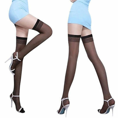 Sexy Women Sheer Ultrathin Lace Top Stay Up Over The Knee Thigh High Stocking