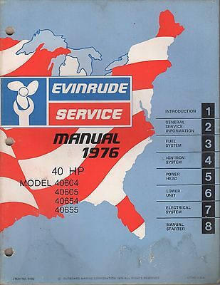 1976 Evinrude Outboard 40 Hp Service Manual P/N 5192 (070)