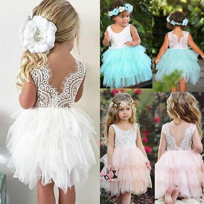 AU Kids Princess Baby Flower Girl Dress Lace Backless Party Cake Bridesmaid Gown