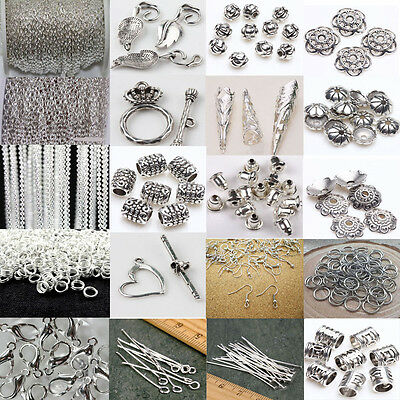 Mixed Silver Chain Hook Pin Rings Lobster Clasp Beads DIY Charms Jewelry Making