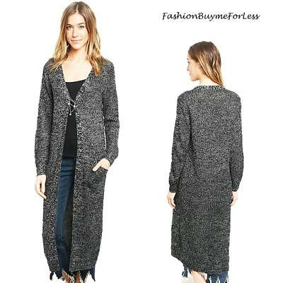 Black Open Front English Knit Tweed Sweater Longline Maxi Duster Cardigan S  M L d0ffd6496
