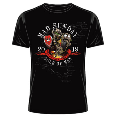 Official Isle of Man TT Mad Sunday 2019 T-Shirt - Black 19ATS12
