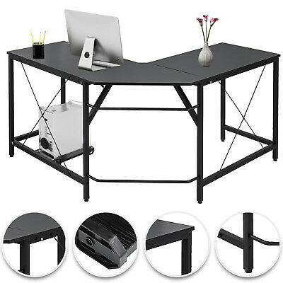 L-Shaped Corner Computer Desk Home Office Space-Saving Powder-Coated Black