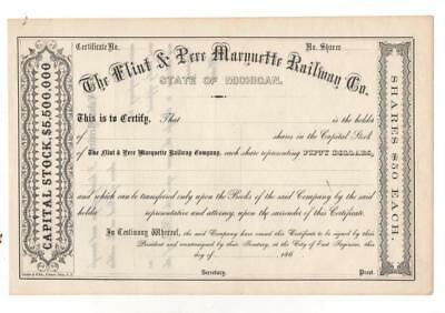 186? The Flint & Pere Marquette Railway Co Capital Stock Certificate.     TF-294