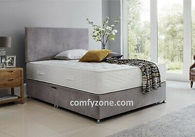 GREY or SILVER SOFT VELVET FABRIC DIVAN BED BASE - 3FT, DOUBLE, 5FT, Super KING