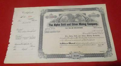 Undated The Alpha Gold and Silver Mining Company.Shares Certificate.    TF-292