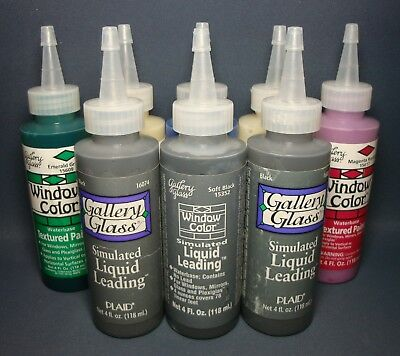 8 x ASSORTED PLAID GALLERY GLASS 4FL Oz / 118ML WINDOW COLOR PAINT ~ SEALED