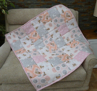 Handmade Patchwork Cot Quilt or Play Mat Bambi and Thumper Pink