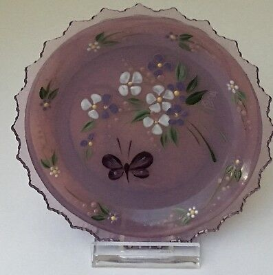 Easter Hand Painted Pairpoint Glass Cup Plate 1984 Purple Flowers Butterflies