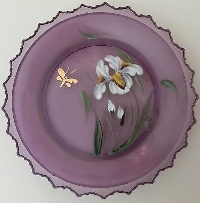 Easter Hand Painted Pairpoint Glass Cup Plate 1985 Iris Dragonfly Flower Purple