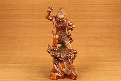 chinese old boxwood hand carved buddha devil statue netsuke collectable ornament